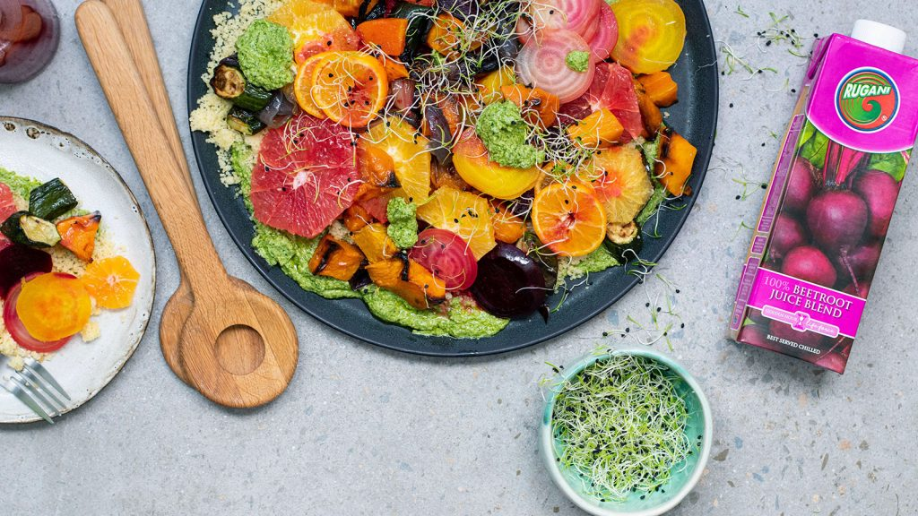 Veggie & Citrus Salad with Rocket Pesto (V)