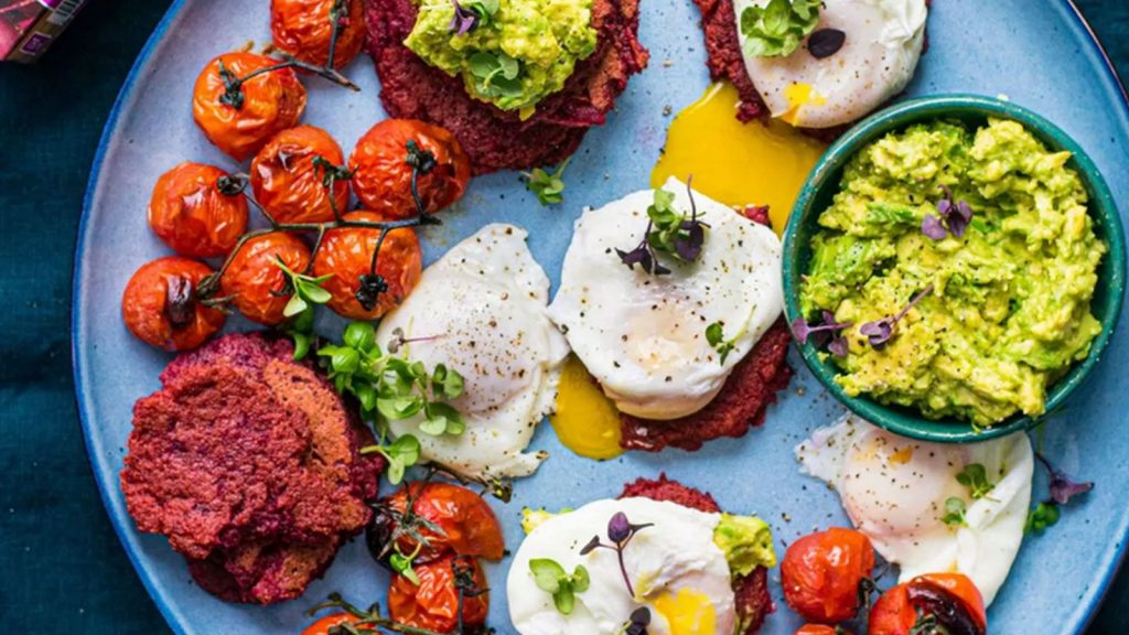 Fritters with Poached Eggs & Avocado Smash