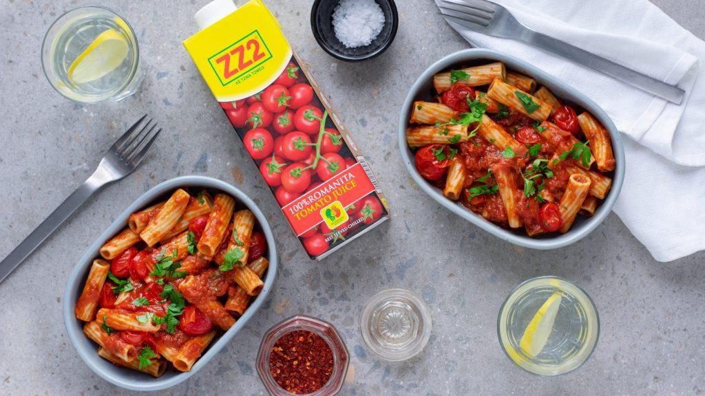 Napoletana Pasta with ZZ2 Tomato Juice