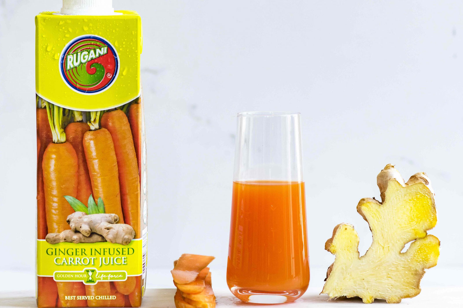 Ginger infused carrot juice with ingredients