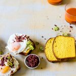 Carrot Bread With Fried Eggs, Creamed Ricotta & Chorizo Crumbs