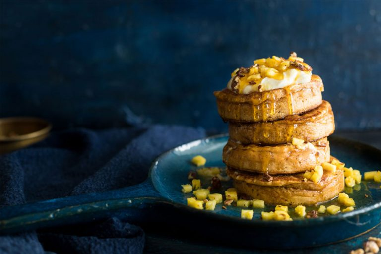 Carrot And Pine Crumpets With Whipped Lemon Cream Cheese
