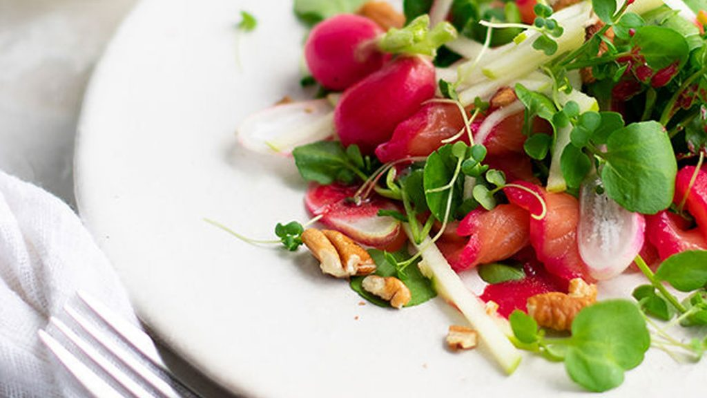 Cured Salmon Salad with Apple, Walnut & Radish