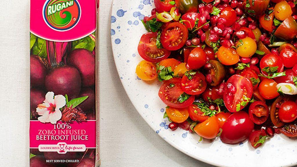 Exotic Tomato Salad with Rugani Beetroot Dressing