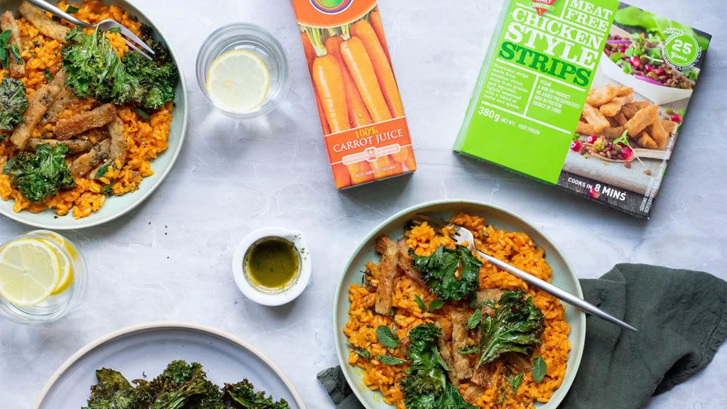 Carrot Risotto with Kale & Chicken Style Strips