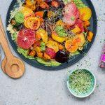 warm veggie citrus salad rocket pesto vegan salad