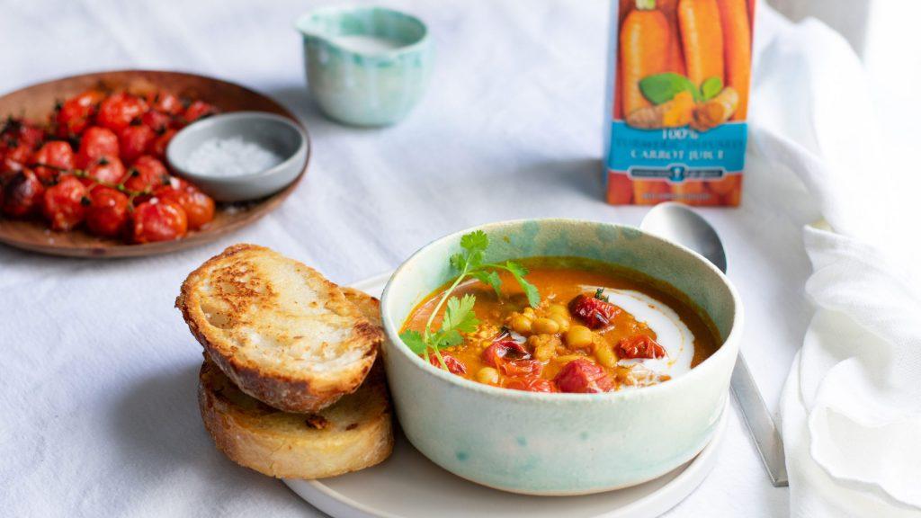 Moroccan carrot, white bean buckwheat soup (v)