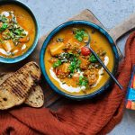 Sweet potato and red lentil soup
