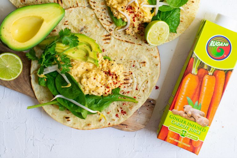 Spicy Carrot and ginger chickpea wraps