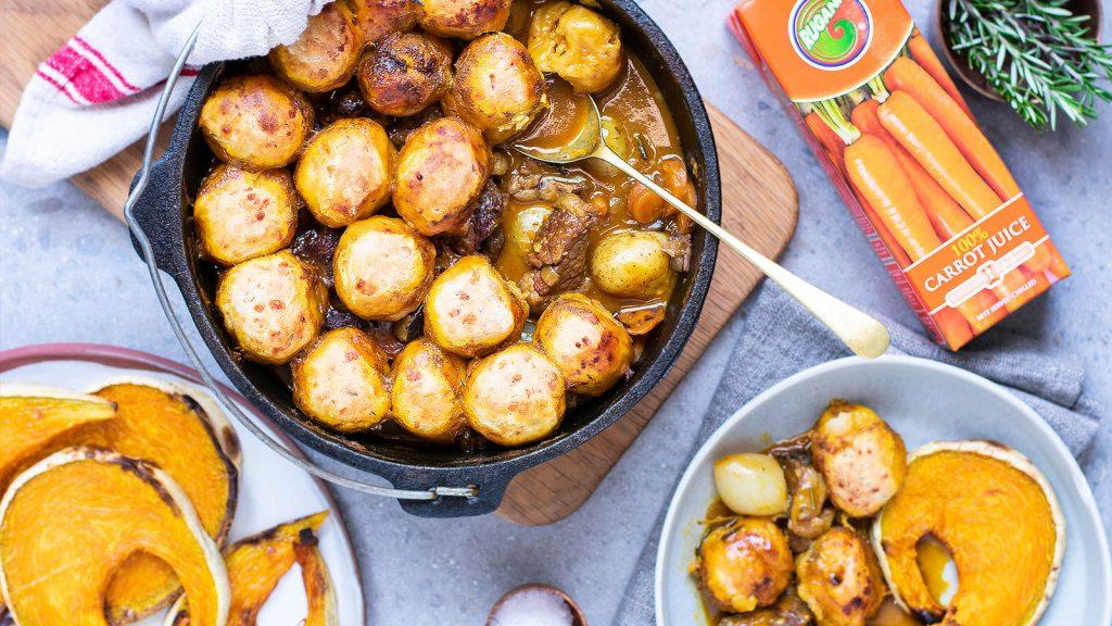 Beef Potjie: Cheddar Dumplings, Roasted Pumpkin