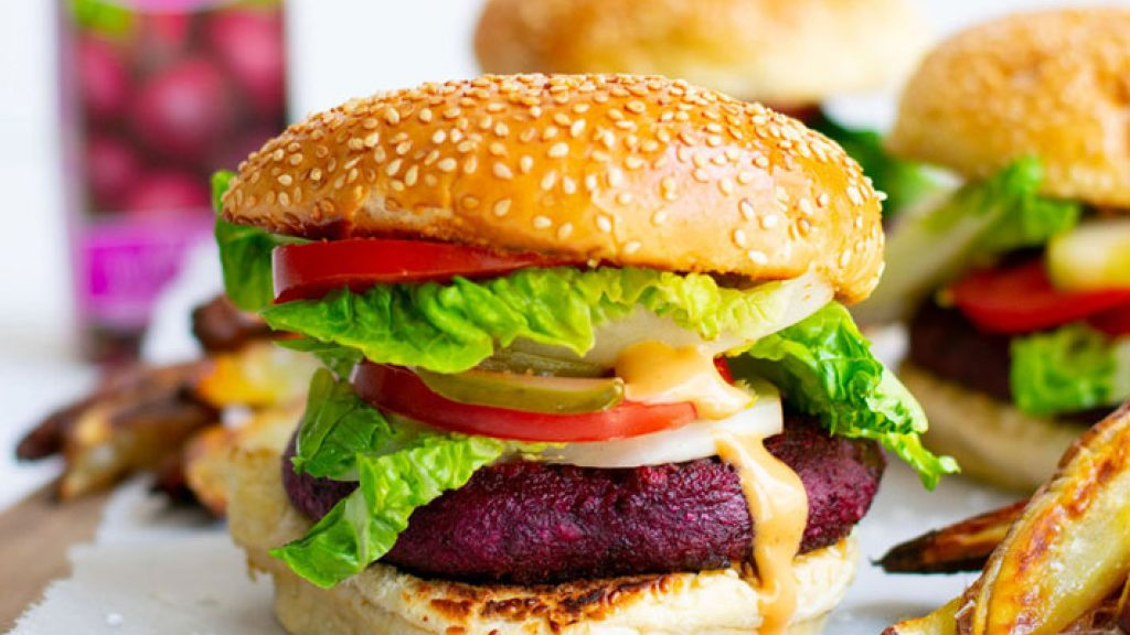 Beetroot Burger With Sweet Potato Fries