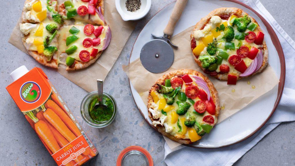 Easy, fun: Veggie rainbow pita pizza