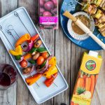 Rugani carrot and pinapple juice with veggie skewers
