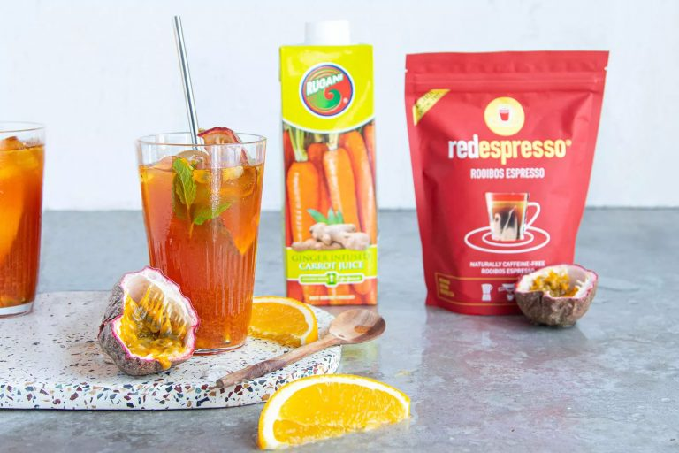 redespresso rooibos with rugani ginger infused carrot juice