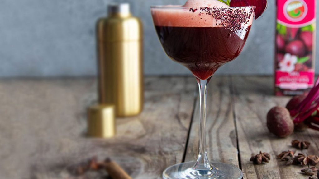 Beetini Mocktail With Hibiscus & Beetroot Juice