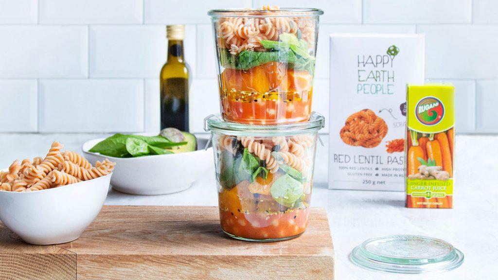 Mason Jar Pasta Salad (V)