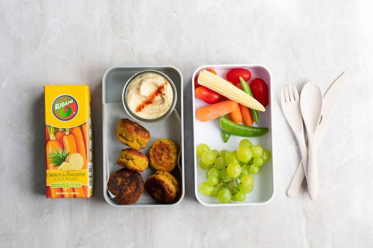 Turmeric and Carrot Falafels lunch box idea