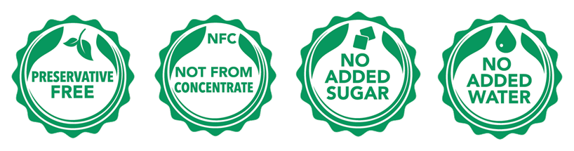 Rugani Juice is | Preservative free | Not from concentrate | Has no added sugar | No added water