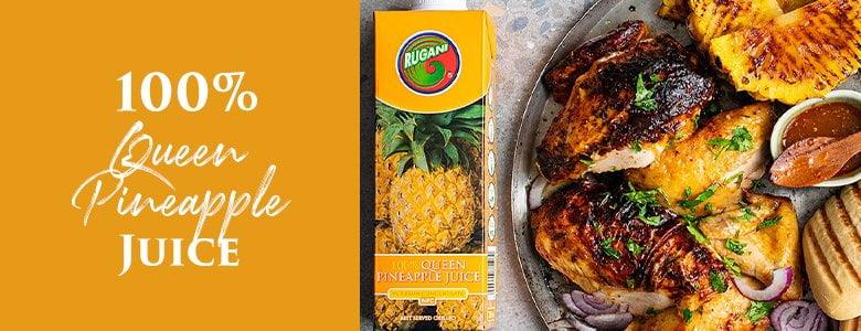 100Queen Pineapple juice chicken and pineapple plate