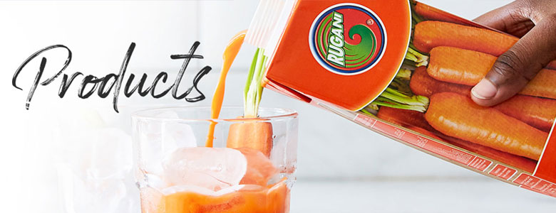 pour Rugani carrot juice into a glass of ice